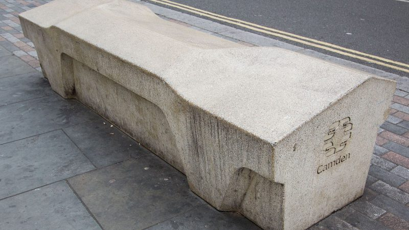 Wikipedia | Camden bench designed to deter sleeping (angled) , littering, skateboarding (angled), drug dealing (no underside), graffiti (anti-paint coating), and theft (weighs 1765 kg).